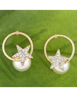 Golden Hoop and Star Attached Sweet Pearl Fashion Women Stud Earrings