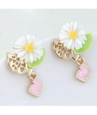 Cute Daisy Korean Fashion Adorable Women Alloy Earrings - White