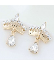 Czech Rhinestone Embellished Crown Design Waterdrop Tassel Style Alloy Women Earrings