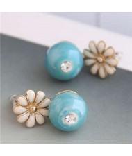 Czech Rhinestone Inlaid Sweet Daisy and Enamel Ball Combo Design Alloy Women Earrings