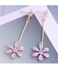 Enamel Tassel Flower Korean Style Sweet Design Alloy Women Earrings - Purple