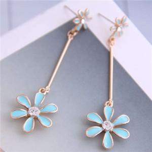 Enamel Tassel Flower Korean Style Sweet Design Alloy Women Earrings - Blue