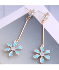 Enamel Tassel Flower Korean Style Sweet Design Alloy Women Earrings - Blue