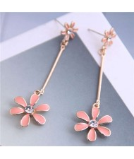 Enamel Tassel Flower Korean Style Sweet Design Alloy Women Earrings - Pink