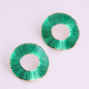 Oil-spot Glazed Folds Design Hoop Fashion Women Alloy Earrings - Green