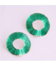 Oil-spot Glazed Folds Design Hoop Fashion Women Alloy Earrings - Green