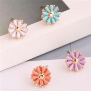 Enamel Mini Daisy Adorable Combo Korean Fashion Women Alloy Earrings - Blue and Purple