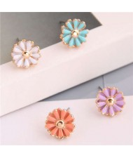 Enamel Mini Daisy Adorable Combo Korean Fashion Women Alloy Earrings - Blue and Purple