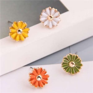 Enamel Mini Daisy Adorable Combo Korean Fashion Women Alloy Earrings - Yellow and Green