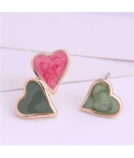 Korean Fashion Enamel Hearts Design Asymmetric Alloy Women Earrings - Green and Red