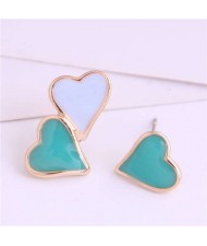 Korean Fashion Enamel Hearts Design Asymmetric Alloy Women Earrings - Teal and White