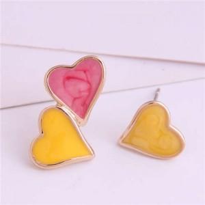 Korean Fashion Enamel Hearts Design Asymmetric Alloy Women Earrings - Red and Yellow
