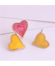 Korean Fashion Enamel Hearts Design Asymmetric Alloy Women Earrings - Red and Yellow