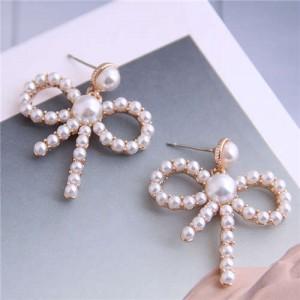 Pearl Fashion Hollow Bowknot Alloy Women Stud Earrings