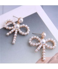 Pearl Fashion Hollow Bowknot Alloy Women Stud Earrings