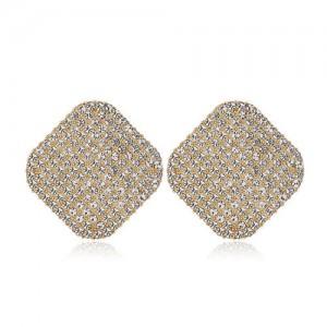 Rhinestone Embellished Square Shape High Fashion Women Alloy Earrings