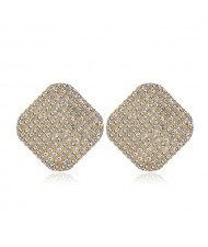 Rhinestone Embellished Square Shape High Fashion Women Alloy Earrings