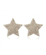 Rhinestone Embellished Star Design High Fashion Women Alloy Earrings