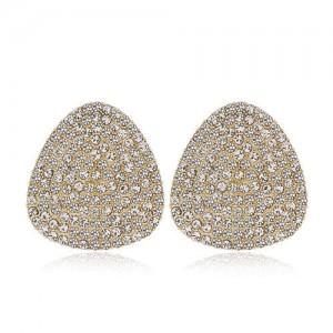 Rhinestone Embellished Oval Shape Women Alloy Stud Earrings