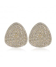 Rhinestone Embellished Oval Shape Women Alloy Stud Earrings
