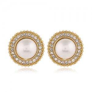 Sweet Design Rhinestone Rimmed Pearl Fashion Women Alloy Earrings - Round