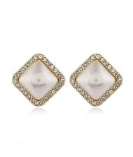 Sweet Design Rhinestone Rimmed Pearl Fashion Women Alloy Earrings - Square