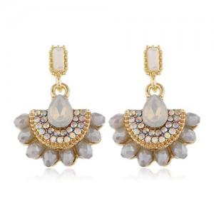 Rhinestone Embellished Fan Shape Crystal Dangling Fashion Women Alloy Statement Earrings - Gray
