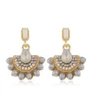 Rhinestone Embellished Fan Shape Crystal Dangling Fashion Women Alloy Statement Earrings - Gray