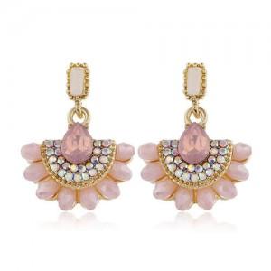 Rhinestone Embellished Fan Shape Crystal Dangling Fashion Women Alloy Statement Earrings - Pink