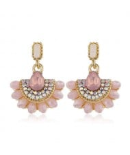Rhinestone Embellished Fan Shape Crystal Dangling Fashion Women Alloy Statement Earrings - Pink