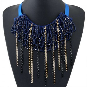 Bohemian Fashion Mini Beads Collar Design Alloy Chain Tassel Alloy Women Bib Necklace - Dark Blue
