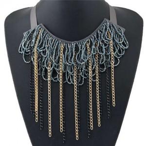 Bohemian Fashion Mini Beads Collar Design Alloy Chain Tassel Alloy Women Bib Necklace - Gray