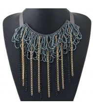 Bohemian Fashion Mini Beads Collar Design Alloy Chain Tassel Alloy Women Bib Necklace - Gray