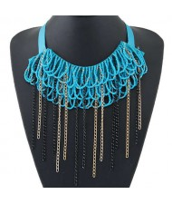 Bohemian Fashion Mini Beads Collar Design Alloy Chain Tassel Alloy Women Bib Necklace - Teal