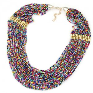Bohemian Fashion Mixed Colors Mini Beads Multi-layer Bold Style Women Statement Necklace