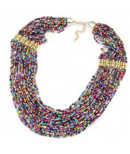 Bohemian Fashion Mixed Colors Mini Beads Multi-layer Bold Style Women Statement Necklace