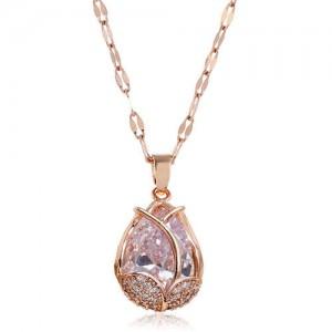 Cubic Zirconia Embellished Tulip Pendant Fashion Women Copper Necklace - Transparent