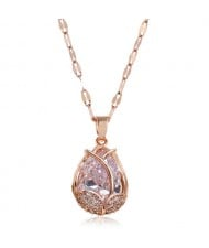 Cubic Zirconia Embellished Tulip Pendant Fashion Women Copper Necklace - Transparent