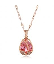 Cubic Zirconia Embellished Tulip Pendant Fashion Women Copper Necklace - Pink