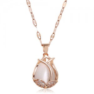 Cubic Zirconia Embellished Tulip Pendant Fashion Women Copper Necklace - White