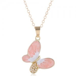 Pearl Inlaid Oil-spot Glazed Butterfly Pendant Korean Fashion Women Alloy Necklace - Pink