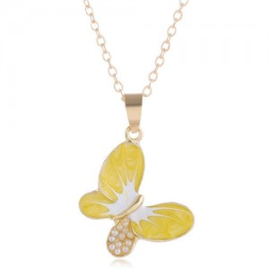 Pearl Inlaid Oil-spot Glazed Butterfly Pendant Korean Fashion Women Alloy Necklace - Yellow