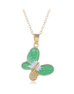 Pearl Inlaid Oil-spot Glazed Butterfly Pendant Korean Fashion Women Alloy Necklace - Green