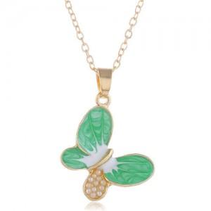 Pearl Inlaid Oil-spot Glazed Butterfly Pendant Korean Fashion Women Alloy Necklace - Green