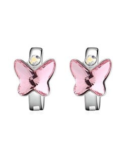 Austrian Crystal Butterfly Elegant Design High Fashion Women Earrings - Pink