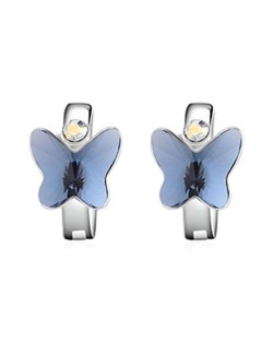 Austrian Crystal Butterfly Elegant Design High Fashion Women Earrings - Ink Blue