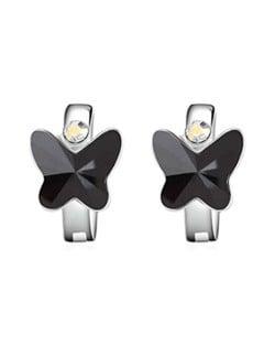 Austrian Crystal Butterfly Elegant Design High Fashion Women Earrings - Black
