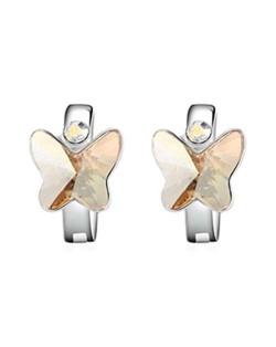 Austrian Crystal Butterfly Elegant Design High Fashion Women Earrings - Champagne