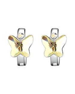 Austrian Crystal Butterfly Elegant Design High Fashion Women Earrings - Yellow