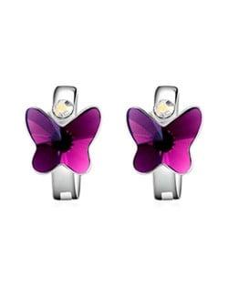 Austrian Crystal Butterfly Elegant Design High Fashion Women Earrings - Purple
